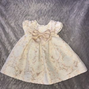 Rose gold brocade special occasion baby girl dress